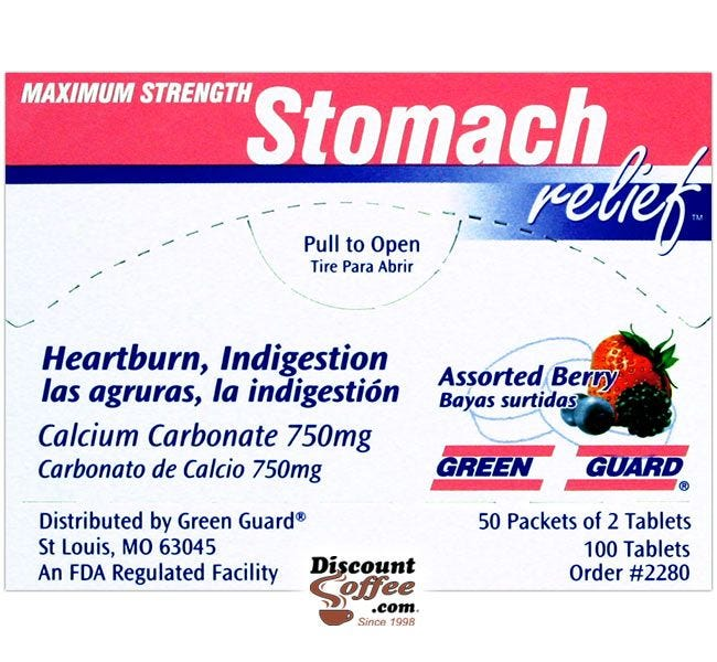 Green Guard Stomach relief Tablets 100 ct. Box   Compare Tums, Rolaids Antacids. Heartburn, Indigestion, Upset Stomach 2 Tablet Packets.