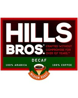 Hills Bros. brand Decaf Coffee | Decaffeinated Original Coffee Blend single cup pods.