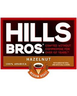 Hills Bros. brand Hazelnut Coffee | Caramel, Spices and Toasted Hazelnut flavored coffee single cup pods.
