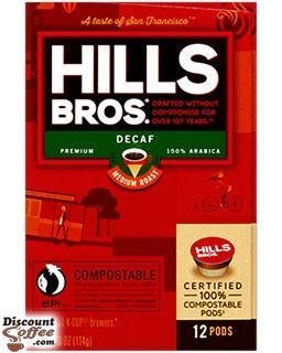 Hills Bros Decaf Coffee box, 24 count single cup pods | 99.7% Caffeine Free, 100% Arabica Coffee.
