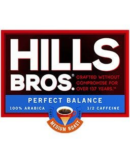 Hills Bros. Perfect Balance | ½ Caffeine, Medium Roast Ground Coffee Pods, 100% Arabica