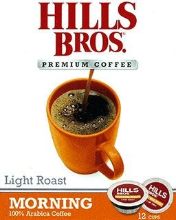 Hills Brothers Morning Roast Coffee Pods | Light Roast Single Serve Coffee Cups, 100% Arabica