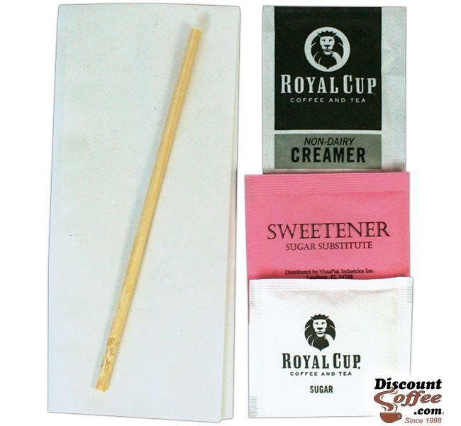 In Room Wrapped Condiment Packets, Napkin, Wood Stir Stick, Sugar Packet, Non-Dairy Coffee Creamer, Pink Artificial Sweetener