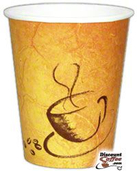 12 oz. Paper Hot Cups, Brown Soho Print Coffee Cups