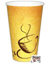 16 oz. Paper Hot Cups, Brown Soho Print Coffee Cups