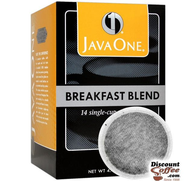 Java One Breakfast Blend Single Cup Coffee Pod | Single-Cup Light Roast Coffee Pods
