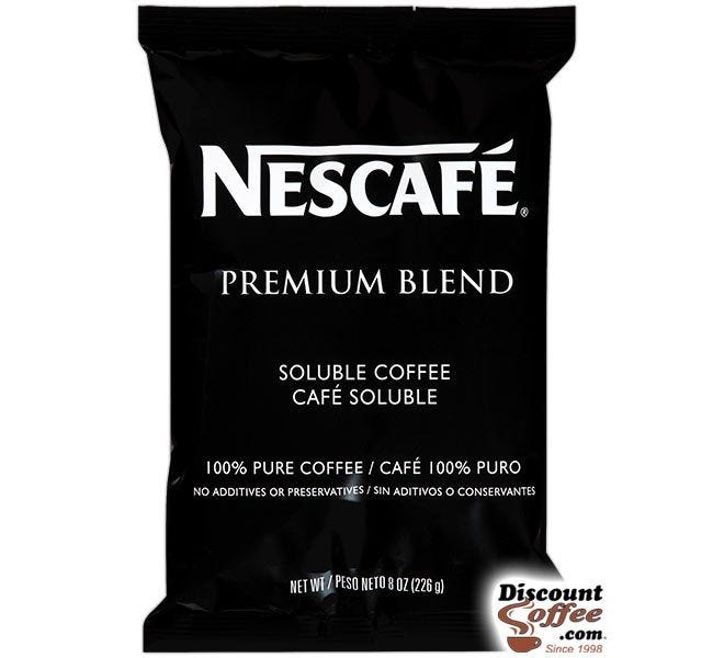 Nescafe Premium Blend Soluble Coffee 8 oz. Bag | Freeze Dried Coffee Hot Drinks, Foodservice 12 Bags / Case.