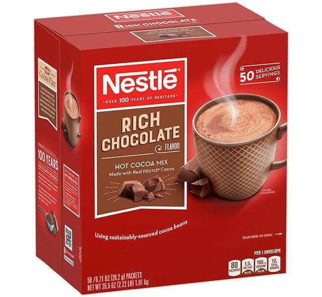 Nestle Rich Chocolate Hot Cocoa Mix | Kosher, 99.9% Caffeine Free, 95 mg Antioxidants, 50 Single Cup Serving Box.