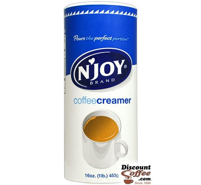 NJoy Coffee Creamer Canister 16 oz. | No Fat Non-Dairy Powdered Creamer Canisters, Kosher, No Refrigeration, 24 ct. Case.