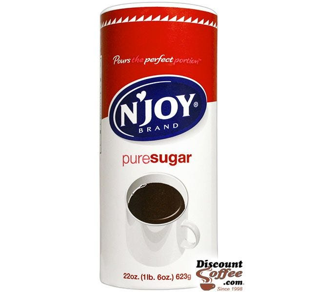 NJoy Sugar Canisters 22 oz. | 100% Pure Cane Sugar Canister, Office Coffee Service, Foodservice 24 ct. Case.