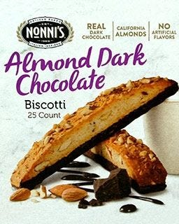 Nonni's Almond Dark Chocolate Dipped Biscotti | 25 ct. Individually Wrapped Kosher Snack Cookies