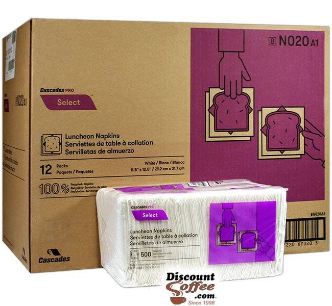 Paper Luncheon Napkins 6,000 ct. Case   Cascades PRO Select N020 Lunch Napkins, 100% Recycled Fiber Made in U.S.A.