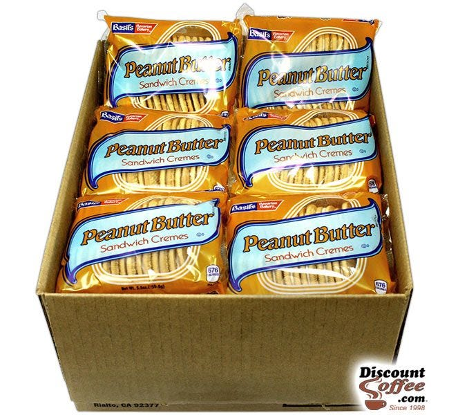 Peanut Butter Sandwich Cremes 24 ct. Case | 5 oz. Snack Size Bags, Basil's Bavarian Bakery Bulk Vending Machine Cookies.