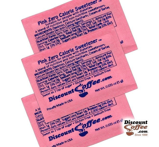 Pink Packets Sugar Substitute Artificial Sweetener Ingredients | Suitable for People with Diabetes. Dextrose, Calcium Saccharin, Cream of Tartar, Calcium Silicate, Gluten Free, Sodium Free, Kosher.