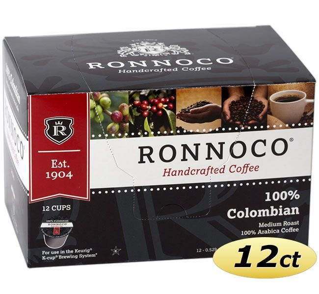 100% Colombian Coffee, Ronnoco One Cup Ground Coffee for *Keurig Coffee Makers.