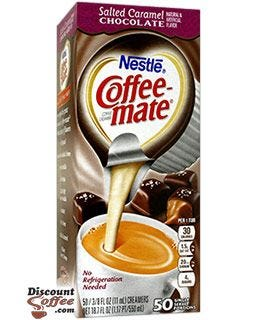 Salted Caramel Chocolate Creamer Tubs Require No Refrigeration | Nestle Non-Dairy Coffee-mate Mocha Flavor