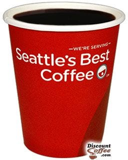 Seattle's Best 8 oz. Coffee Cup, Branded Disposable Paper Hot Cups, Red, White Logo