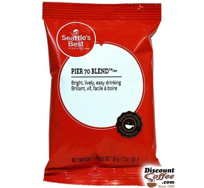 Seattle's Best Pier 70 Blend Coffee 18 ct. Box | 2 oz. Light Medium Roast Ground Coffee Bags, Kosher.