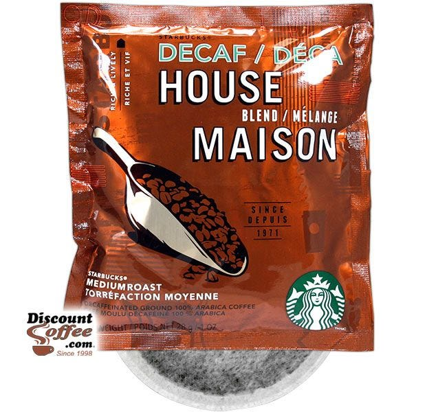Starbucks Decaf House Blend 4 Cup Coffee Filter Packs | Foodservice In-Room Hotel, Motel, Inn, Bed and Breakfast Coffee.