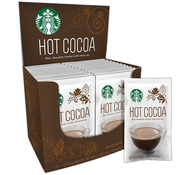 Starbucks Hot Cocoa Mix 24 ct. Box | 1 oz. Packets Make 6 oz. Cups of Starbucks Hot Chocolate Beverages.