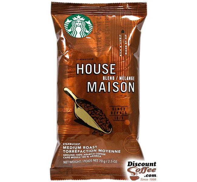 Starbucks House Blend Ground Coffee | Light to Medium Body, Toasted Nut Flavor, Medium Roast 2.5 oz. Bags, 18 ct. Box.