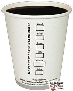 Starbucks Tall 12 oz. Printed Logo Cups   Starbucks Coffee 12 ounce Paper Hot Cups
