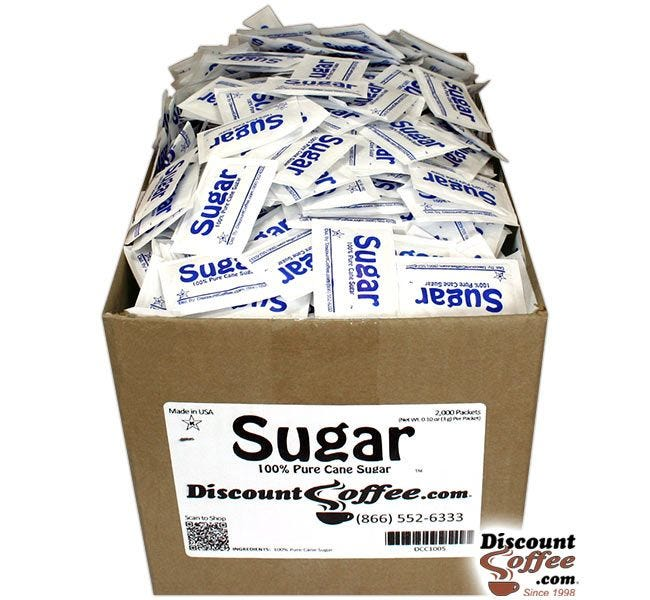 Sugar Packets Foodservice Bulk Case | 100% Pure Cane Granulated Sugar, 2,000 ct. Case, 500 ct. Bag, 100 ct. Bags.