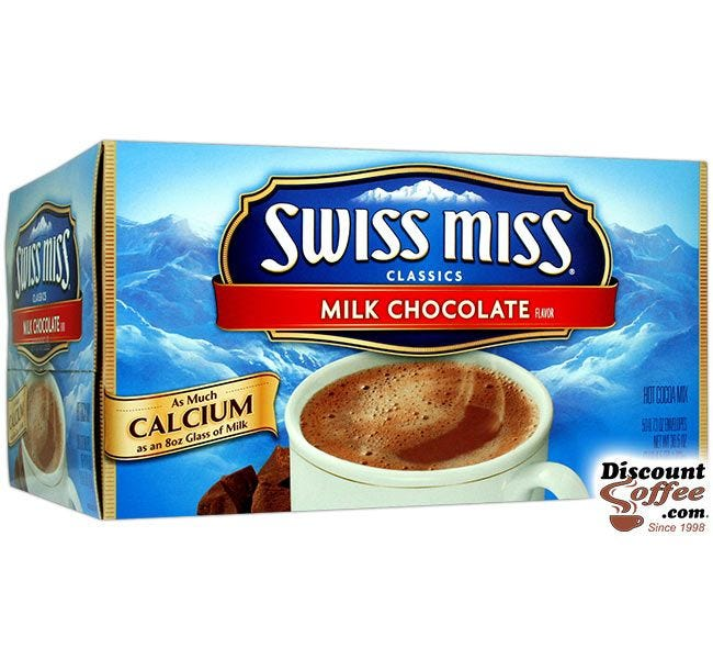 Swiss Miss Hot Cocoa Mix 50 ct. Box | Milk Chocolate Single Serve Packets, ConAgra