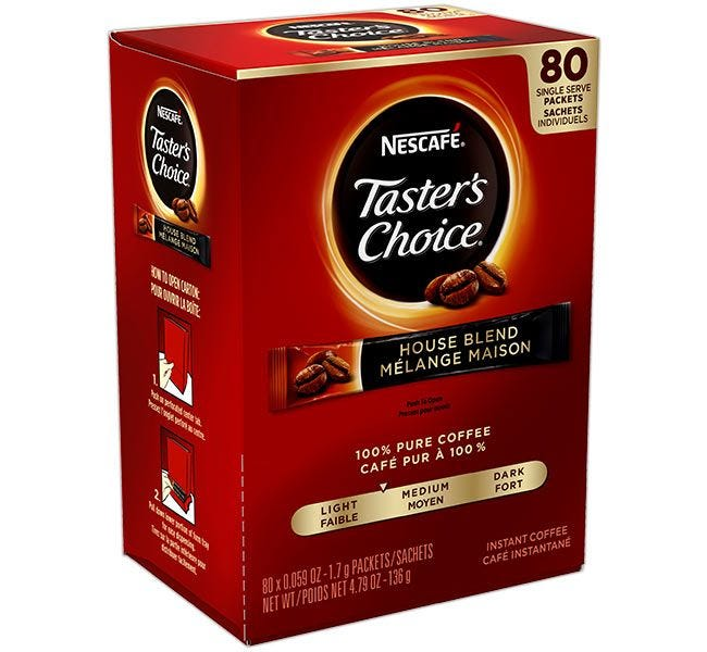 Taster's Choice Original Freeze Dried Coffee   Nescafe Instant Coffee Single Cup On The Go Sticks, 80 ct. Box.