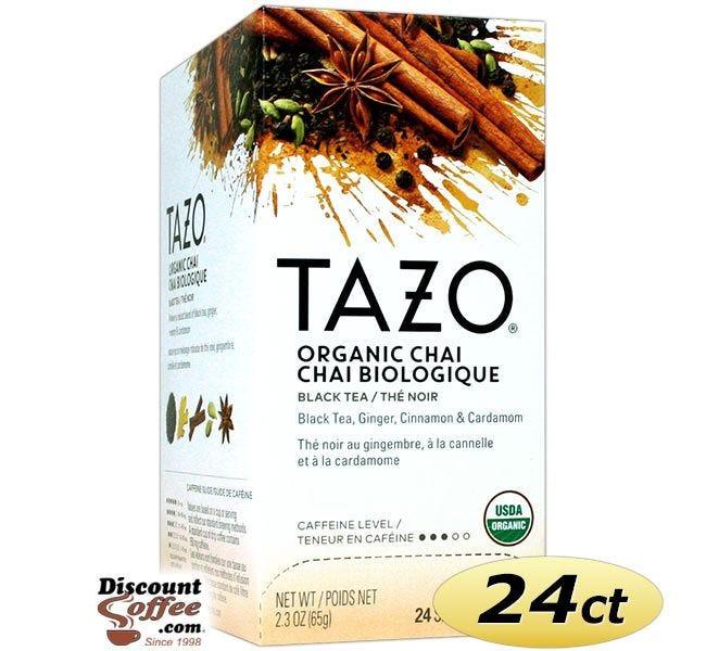 Tazo Chai Tea 24 ct. Box   Organic Black Tea, Spicy Cinnamon, Ginger, Cardamom, Clove, Star Anise Flavored Hot Tea Bags.