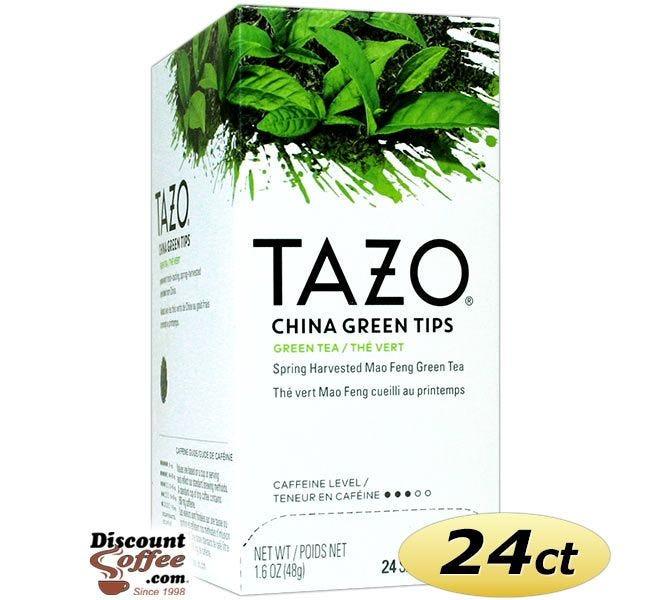 Tazo China Green Tips Tea 24 ct. Box   Green Tea, Spring Harvested Mao Feng Zhejiang China Green Tea Hot Tea Bags. Kosher.