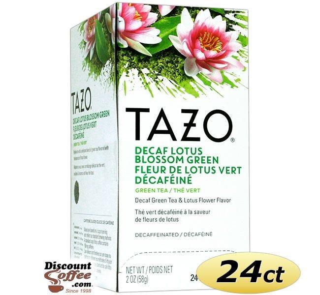 Tazo Decaf Lotus Blossom Tea 24 ct. Box | Green Tea, Lotus Flower Leaves Flavored Hot Tea Bags.