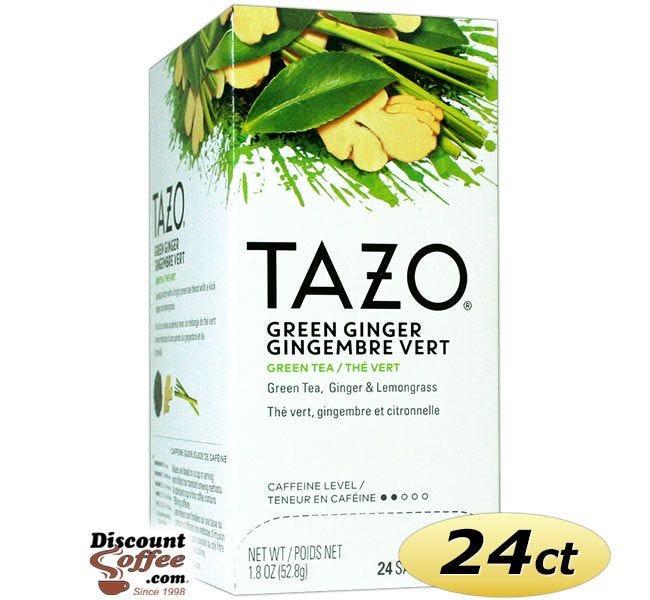 Tazo Green Ginger Tea 24 ct. Box   Green Tea, Spicy Ginger, Sweet Pear Essence Flavored Hot Tea Bags.