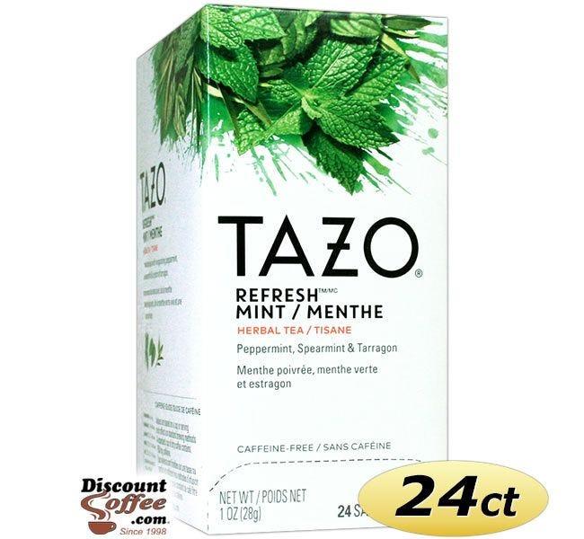 Tazo Refresh Mint Tea 24 ct. Box | Herbal Tea, Peppermint, Spearmint, Chocolate, Tarragon, Licorice, Chocolate Mint Flavored Hot Tea Bags.