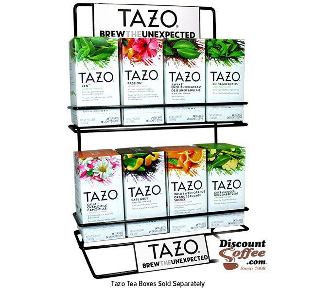 Tazo Tea Metal Wire Display Rack | 2 Shelf Commercial Grade Tazo Brand Rack Displays 8 Tea Boxes.