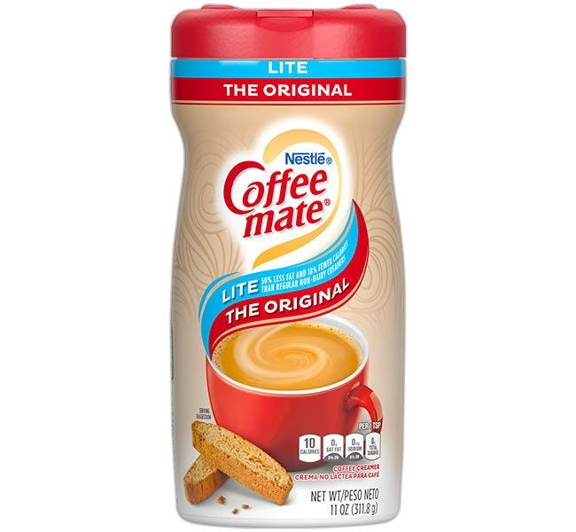 The Original Lite Coffee-mate Creamer Canister | Lactose Free, Gluten Free Non-Dairy Creamer 11 oz. Powdered Canisters.
