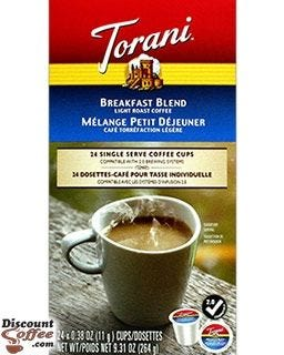 Torani Breakfast Blend Coffee 24 cups per box | 2.0 Compatible with Keurig® K-Cup® Coffee Makers.
