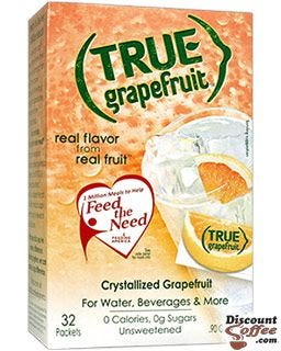 Unsweetened True Grapefruit beverage mix for water, recipes | Crystallized natural fruit flavor packets.