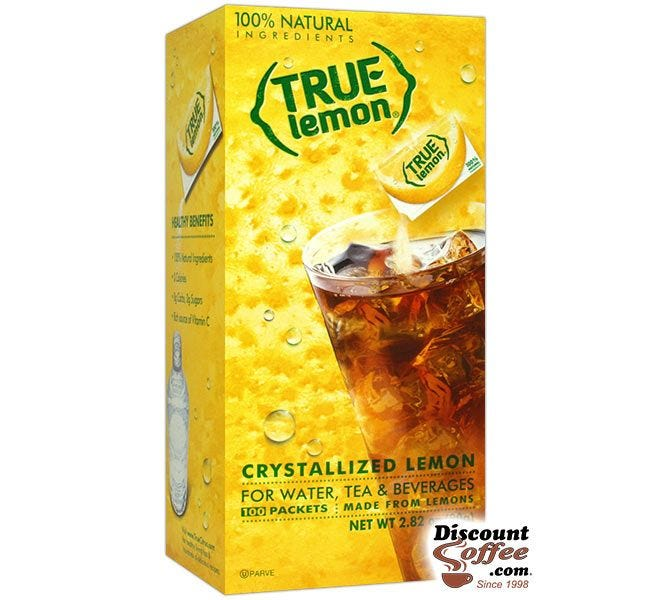 True Lemon 100 Packet Dispenser Box | Natural Lemon Flavoring for Water, Tea & Beverages