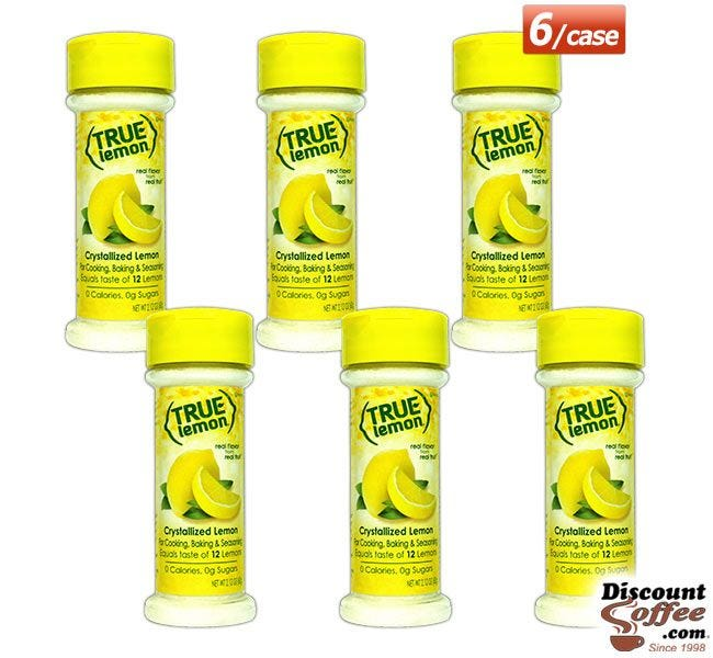 True Lemon 2.12 oz. Shakers 6 ct. Case | Food Service, Seasoning, Cooking, Recipes, Non-GMO, Gluten Free, No Sugar, Kosher