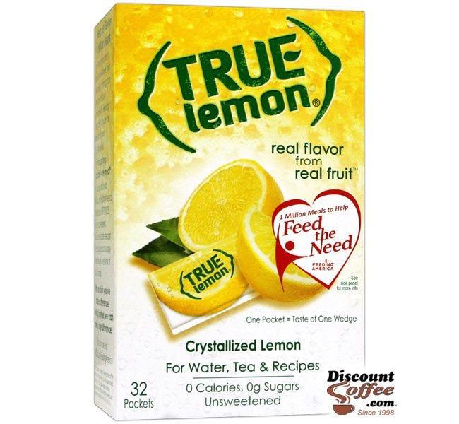 True Lemon 32 Packet Box | 100% All Natural Crystallized Lemon Powder for water, tea, drinks.