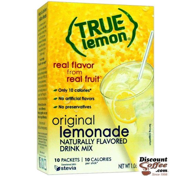 True Lemon Original Lemonade Mix 10 ct. | Bottled Water Naturally Flavored Drink Sticks, Stevia Sweetened