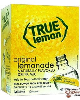 True Lemonade Drink Mix, Original Natural Lemon Flavored On The Go Sticks | Stevia Sweetened