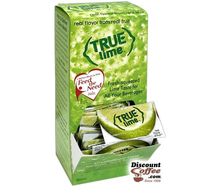 True Lime Packets 100 ct. Dispenser | Natural Crystallized Lime Juice Flavor for Water, Beverages, Drinks, Bar Recipes.