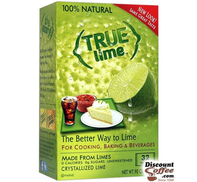 True Lime Packets 32 ct. Box | Natural Fresh Squeezed Lime Juice Flavor for Water, Beverages, Bar Recipes.
