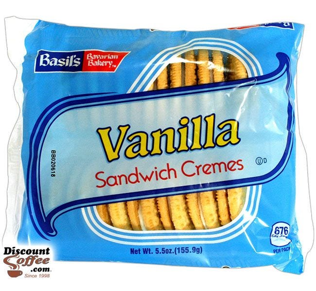 Vanilla Sandwich Cremes Cookies 5 oz. | Biscomerica Basil's Bavarian Bakery Vending Snack Cookies, Kosher, 24 ct. Case.