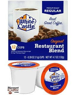 White Castle Medium Roast Single Cup Coffee, Regular Original Restaurant Blend, 100% Arabica Coffee
