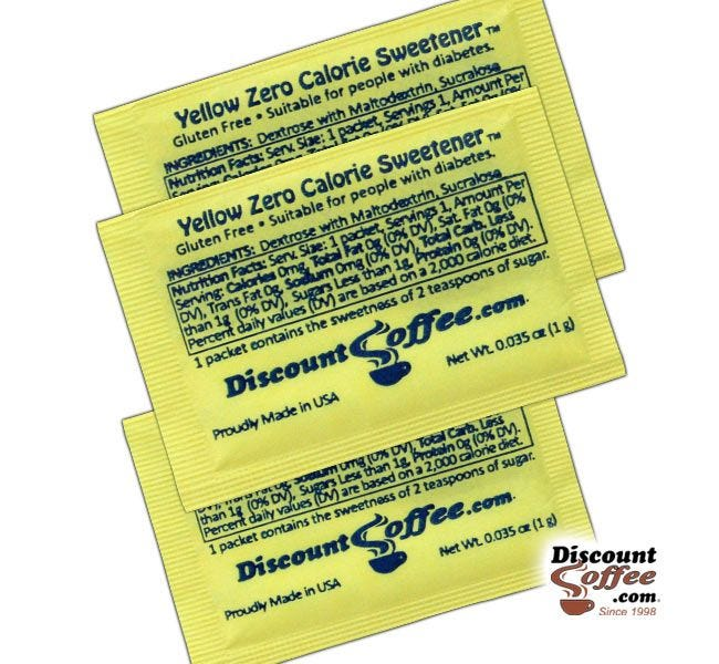 Yellow Packets Sugar Substitute Artificial Sweetener Ingredients | Suitable for People with Diabetes. Dextrose, Maltodextrin, Sucralose, Gluten Free, Kosher.