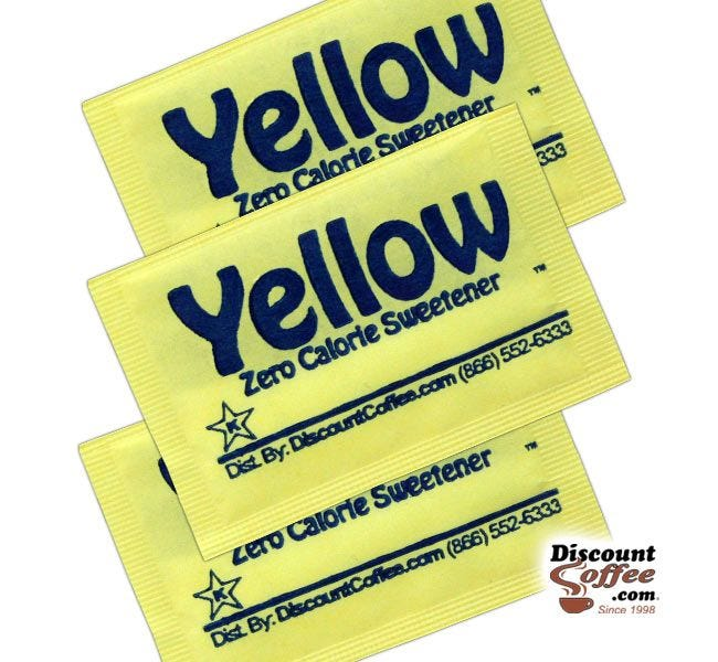 Yellow Packets Zero Calorie Sweetener | Compare Splenda Brand, Save! Sucralose Artificial Sweeteners, Gluten Free, Kosher.