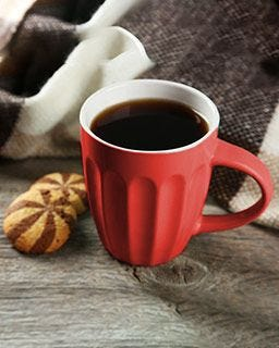Freshly brewed Yuban coffee in your prized mug. Breaktime!